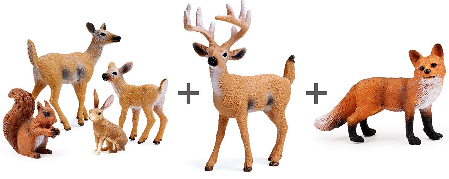 UANDME Miniature Deer Family Toy Figurines with Forest Animal Babies Set,  Includes a Buck, Doe, F