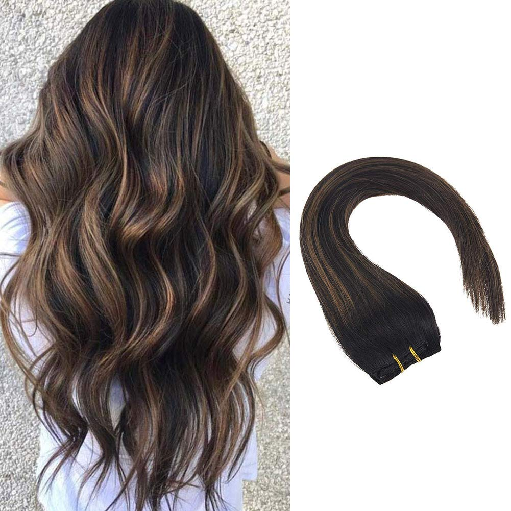 VeSunny 14inch Balayage Clip in Hair Extensions Black Fading to Medium  Brown Mix Black Hair