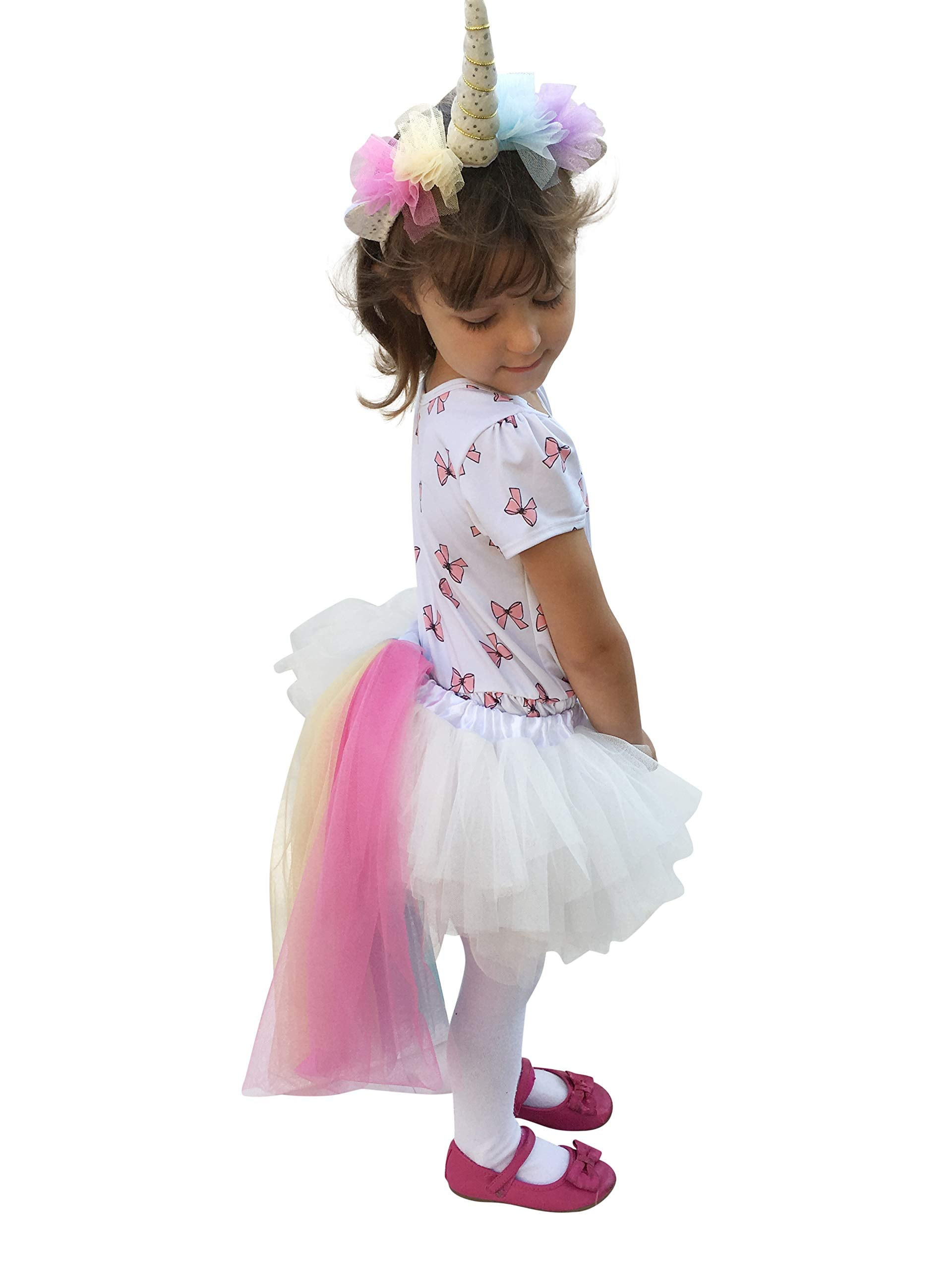 6ee05736b Rainbow Unicorn Tutu Dress Up Costume Outfit for Girls Birthday : Headband, Skirt  Tail Outfit Siz.