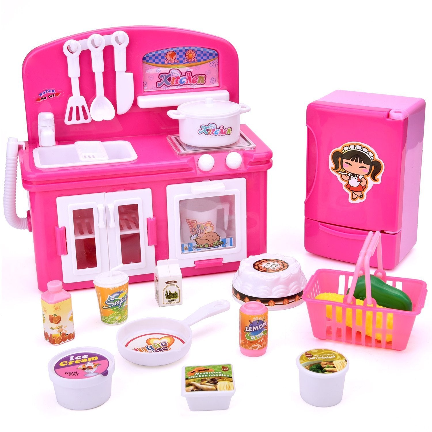 Kids Kitchen Accessories >> Fun Little Toys Kids Kitchen Set For Girls Play Kitchen Accessories Kitchen Appliances