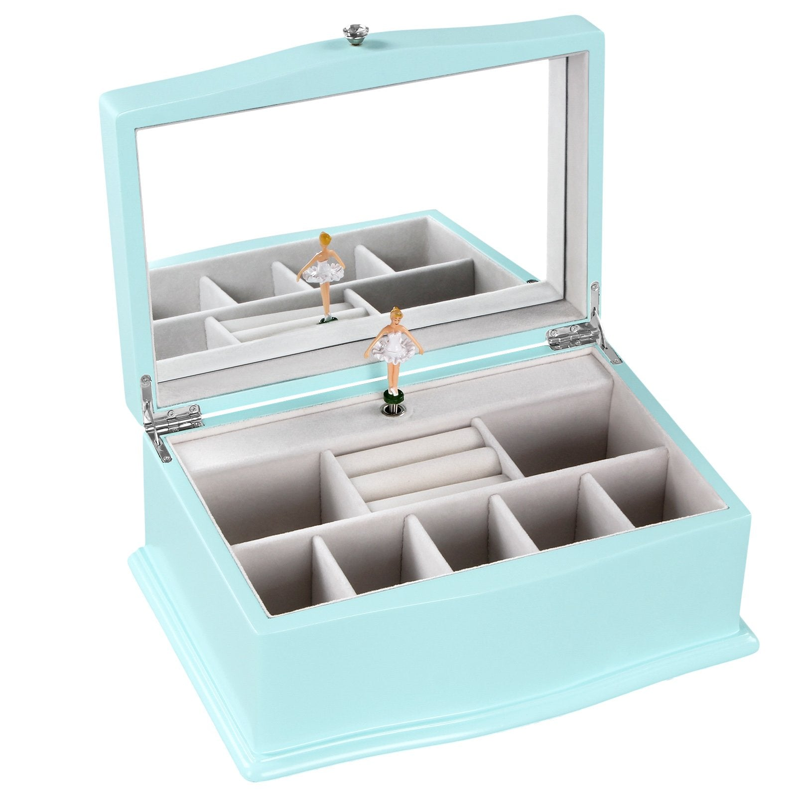 Songmics Girls Music Jewelry Box With Ballerina Unique Tiffany Blue Wooden Musical Box With Larg