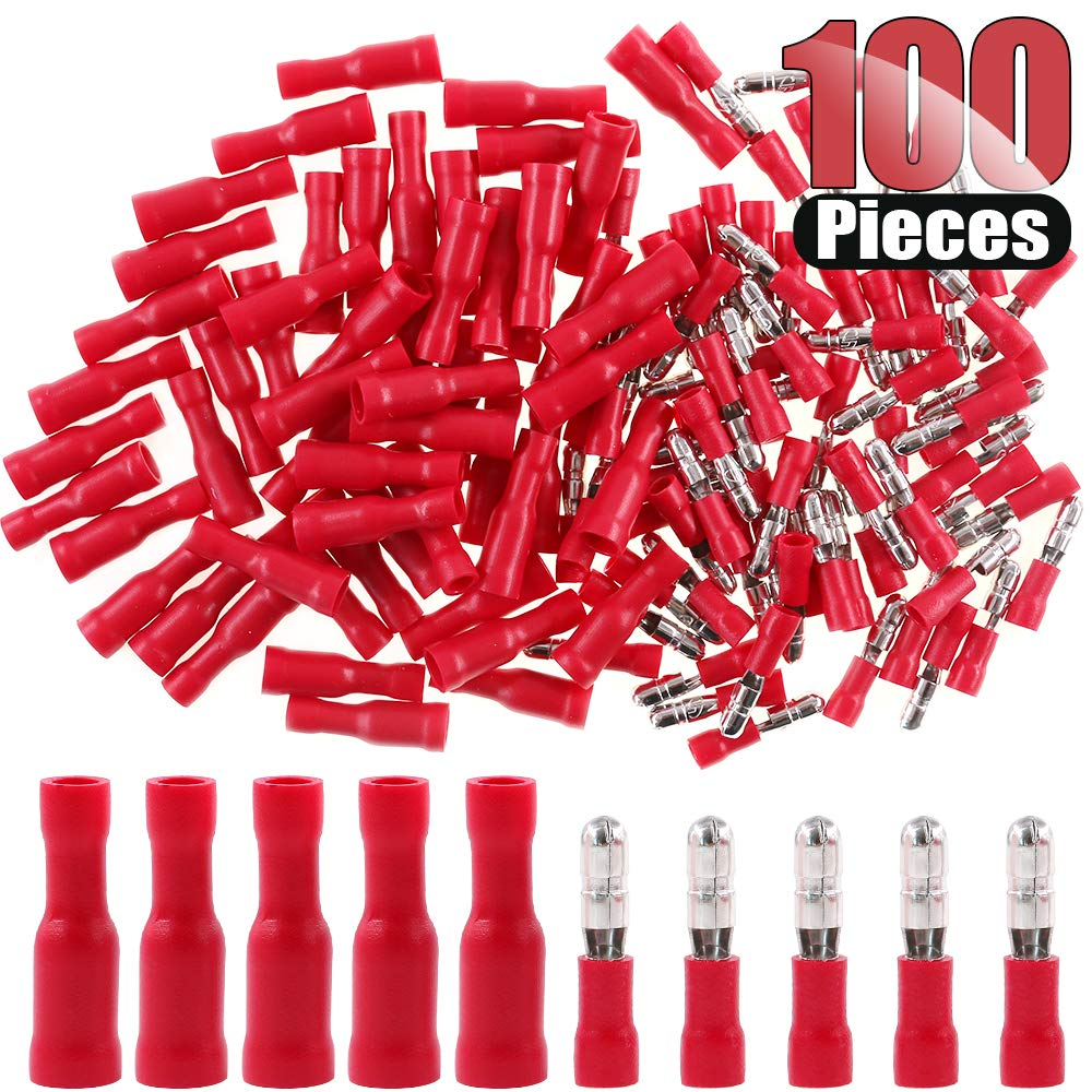 Hilitchi 100pcs 22-16 Gauge Insulated Male/Female Bullet Quick Splice Wire  Terminals Wire Crimp C