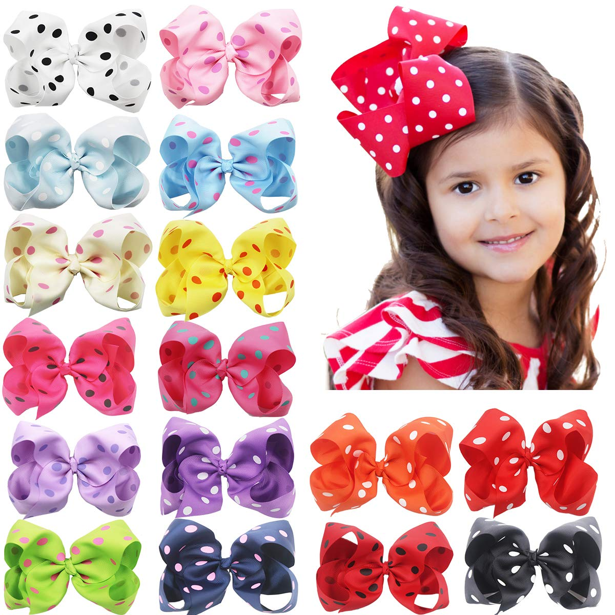c0e4d4a17 6 Inch Large Big Bows Boutique Grosgrain Ribbon Polka Dot Bow Alligator Hair  Clips for Baby Girls.