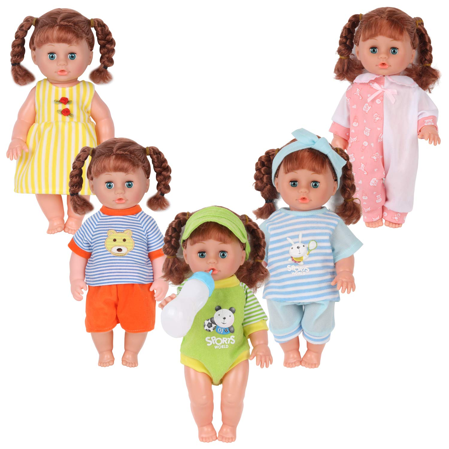 Pack of 7 for 11-12-13 Inch Alive American Doll Baby Doll Clothes Dress Costu...