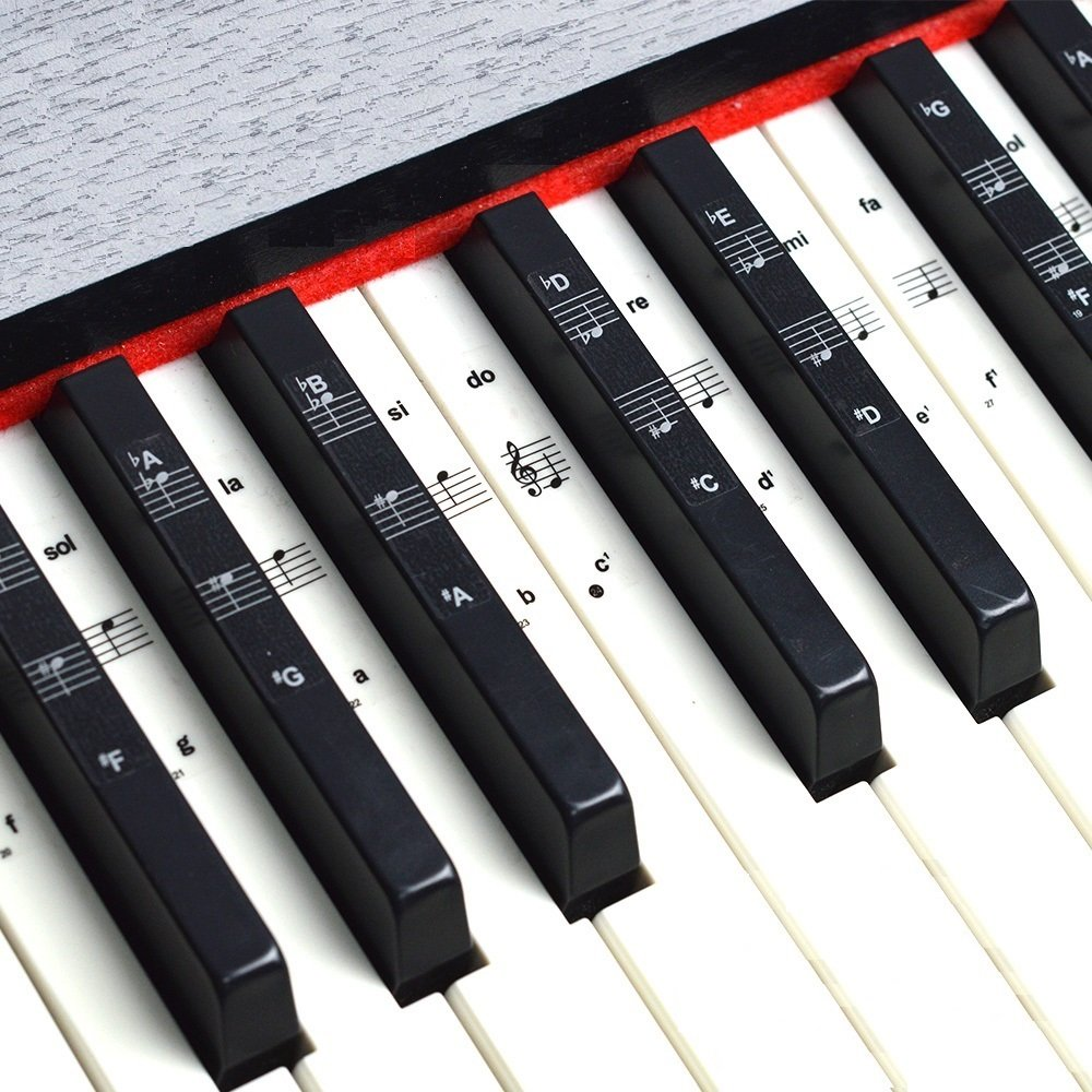 Keyboard or Piano Stickers for 49/61/76/88 Key Keyboards, Piano and  Keyboard Music Note Full Set