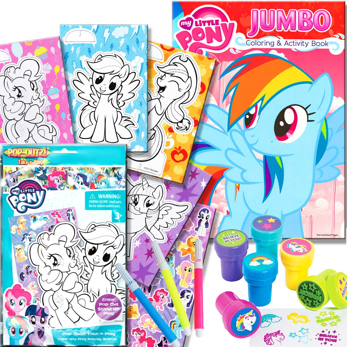 My little pony coloring book with take n play set 96 page coloring book my little pony stickers