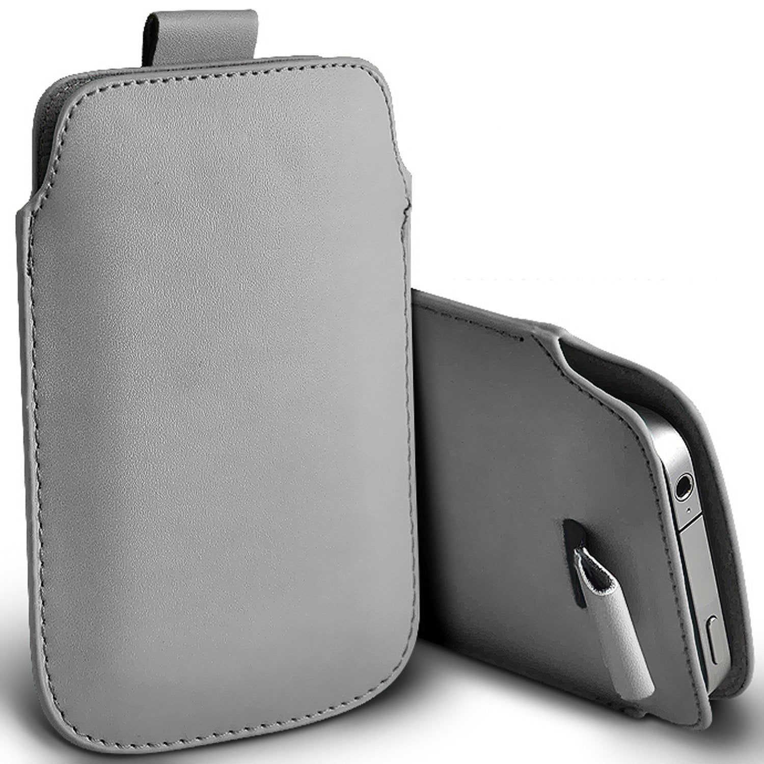 check out f3eb7 6b1d7 i-Tronixs (Grey) Argos Alba 4 Case Premium Stylish Faux Leather Pull Tab  Pouch Skin Case Cover To...