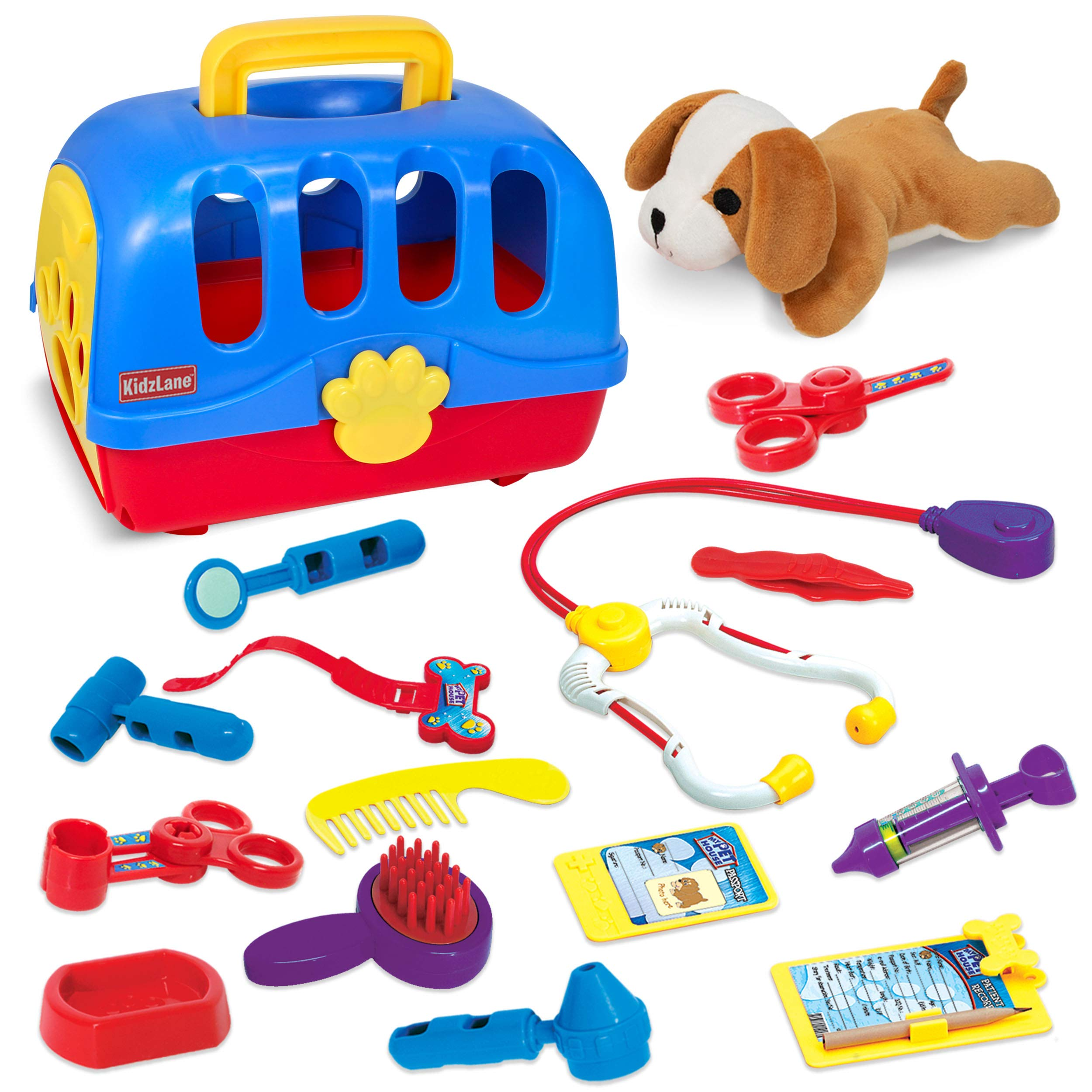 d63e25ced Kidzlane Pretend Veterinarian Doctor Kit for Toddlers and Kids - Realistic  Pet Vet Play Set with .