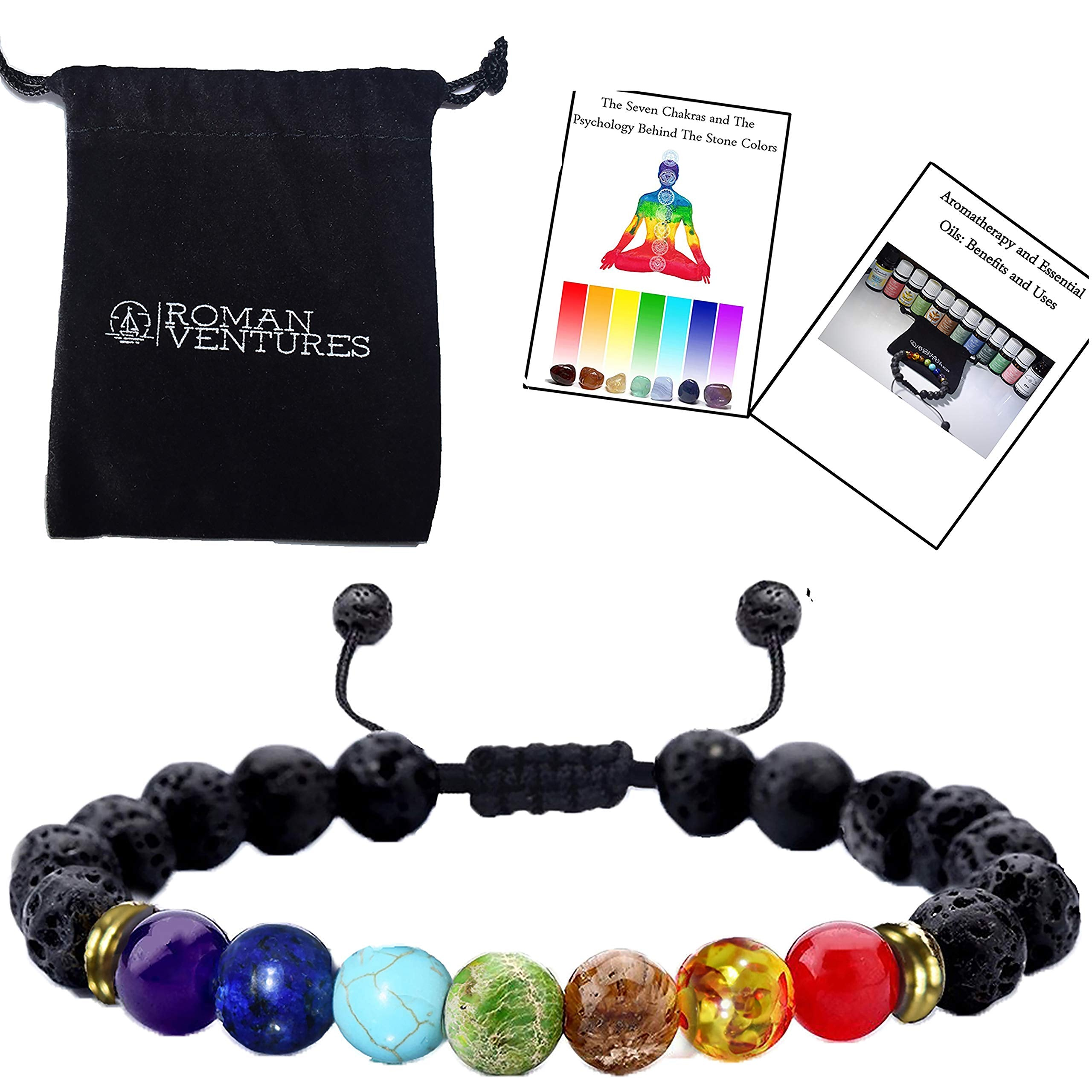 Jewelry & Watches Aromatherapy Lava Stones Bracelet Chakra Lava Stone With 2 Essential Oils