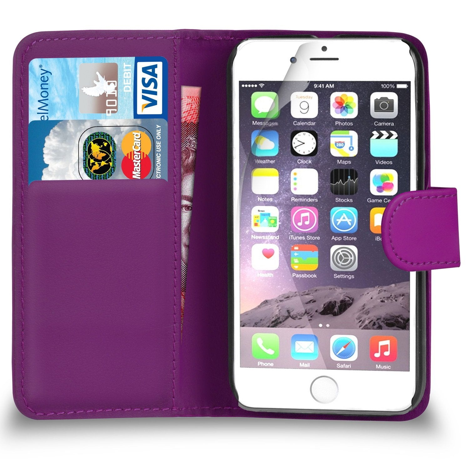 Apple iPhone 7 (4 7 INCH) - Premium Leather PURPLE Wallet Flip Case Cover  Screen Protector & Pol