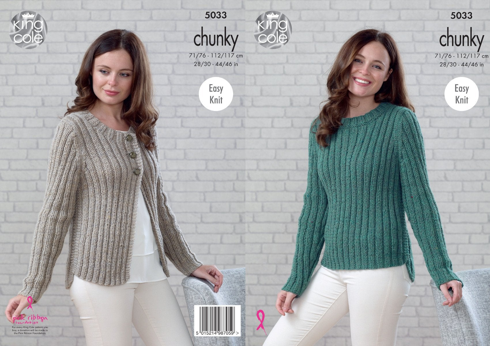 b5998908922c King Cole Ladies Chunky Knitting Pattern Womens Easy Knit Ribbed Sweater  Cardigan 5033