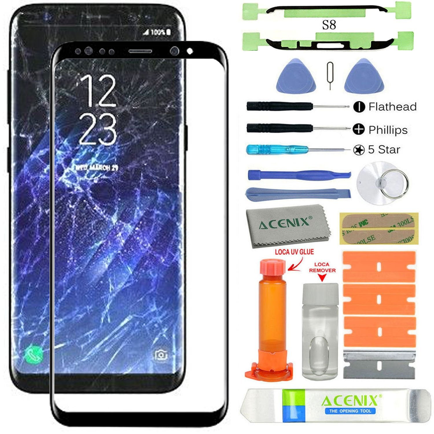 a98a2f6bda8 ACENIX Replacement Screen Front Glass Lens Repair Kit Black for Samsung  Galaxy S8 + UV Glue and .