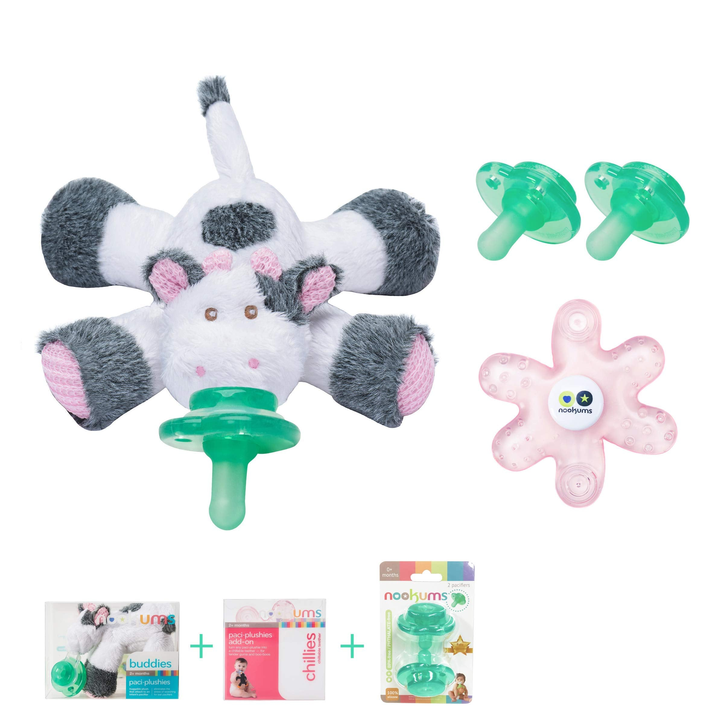 Includes 4 Green Pacifiers Nookums Paci-Plushies Replacement Pacifier 4 Pack
