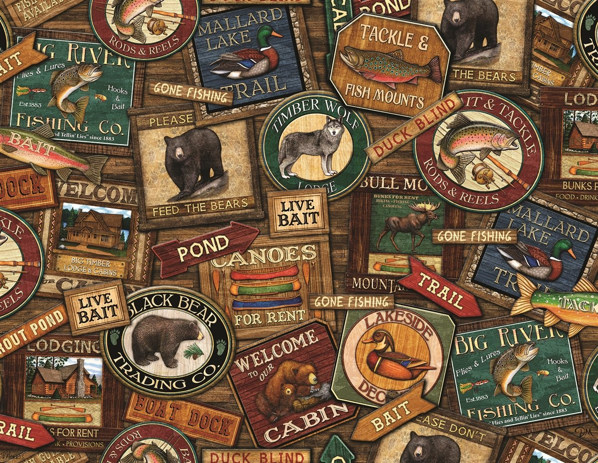 Springbok Puzzles - Lodge Signs - 500 Piece Jigsaw Puzzle - Large 23 5  Inches by 18 Inches Puzzle