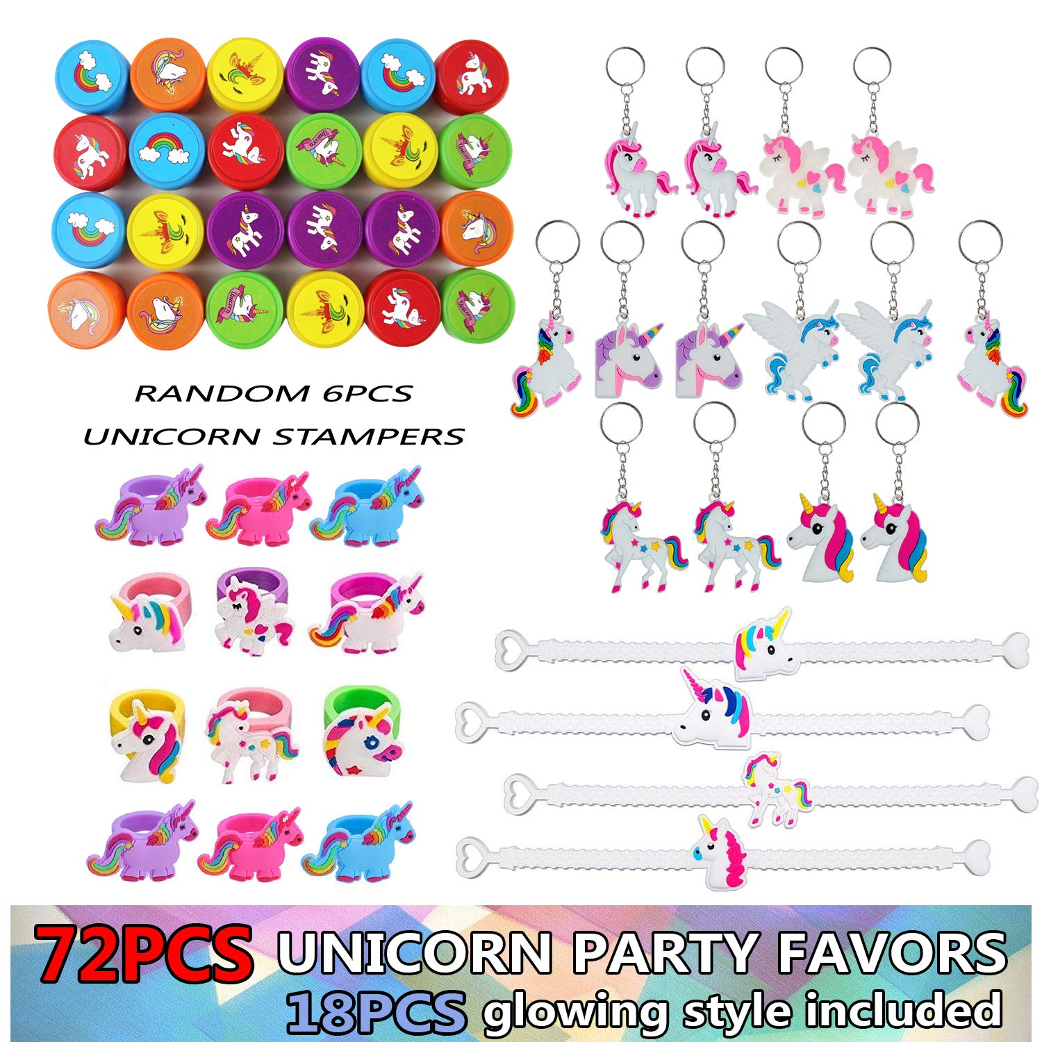 Unicorn Themed Party Favor Pack For Kids 72 Pieces Birthday Supplies With
