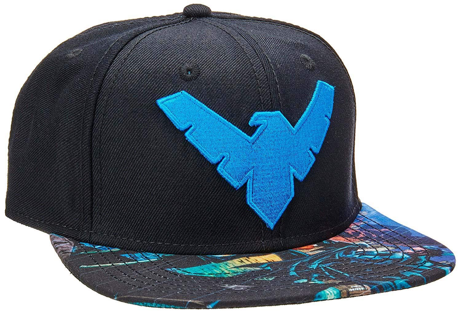 1e24fc3b bioWorld DC Comics Batman Nightwing Logo Sublimated Bill Snapback Cap
