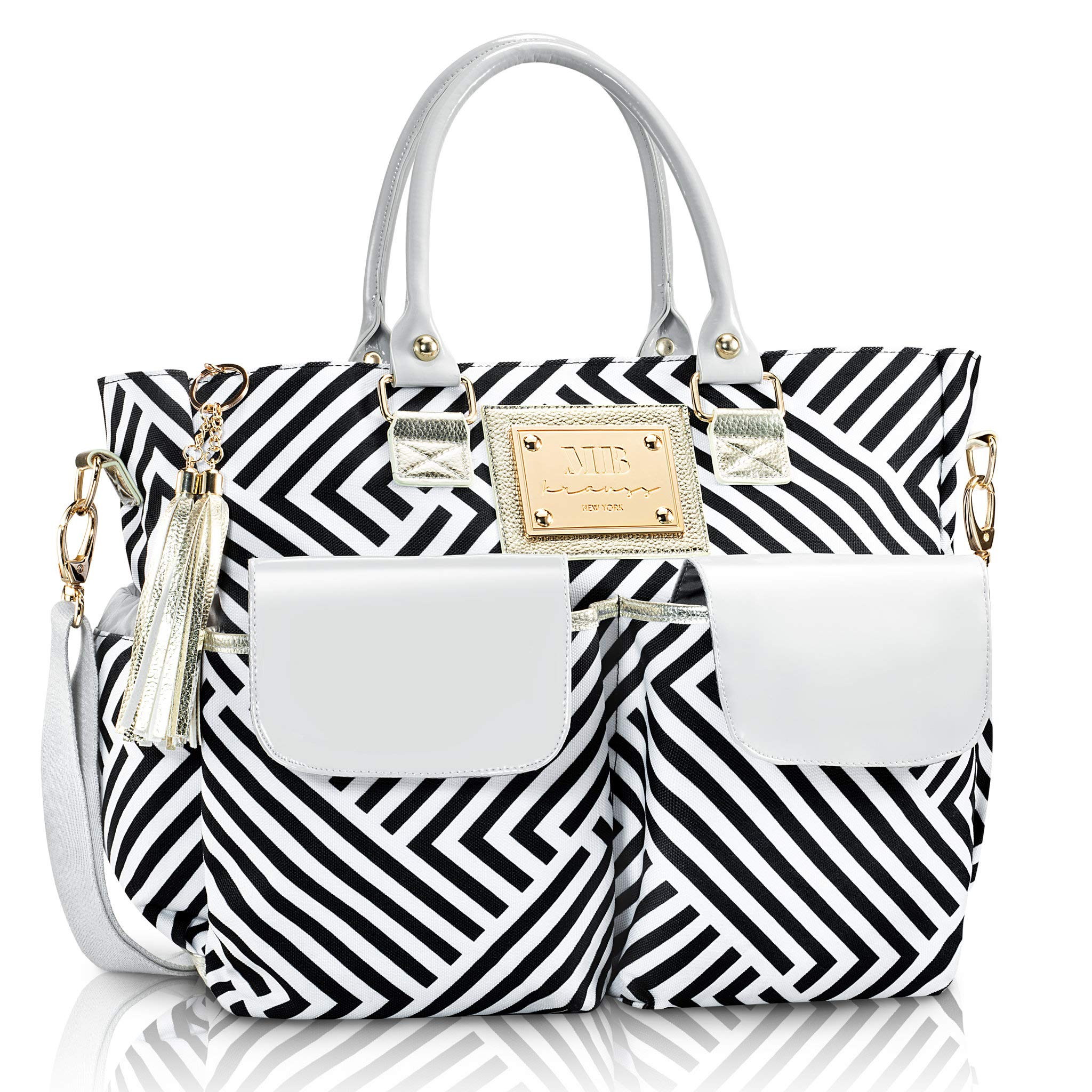 e7eddfeaf Fashion Chevron Diaper Bag by MB Krauss - Large Womens Diapering Tote with  Multiple Pockets, Bla.