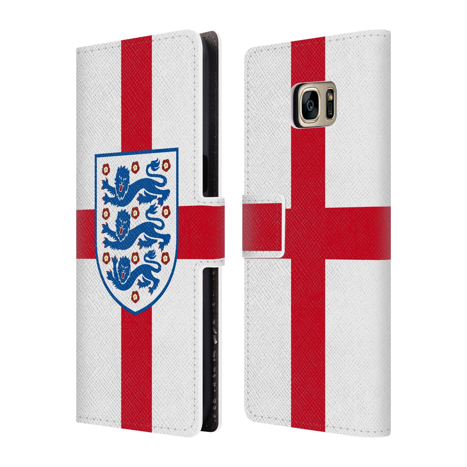 Official England Football Team Flag 2018 Crest Leather Book Wallet Case  Cover For Samsung Galaxy