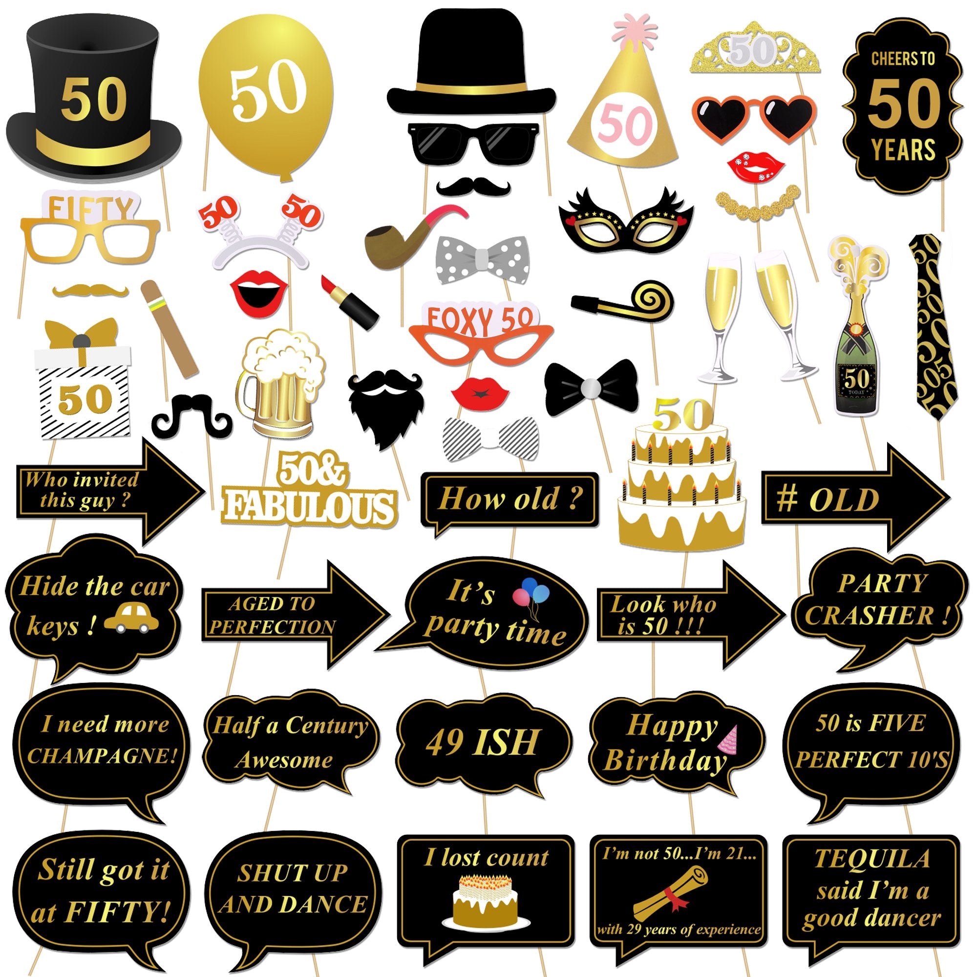 Konsait 50th Birthday Photo Booth Props Decorations Party Black Gold G