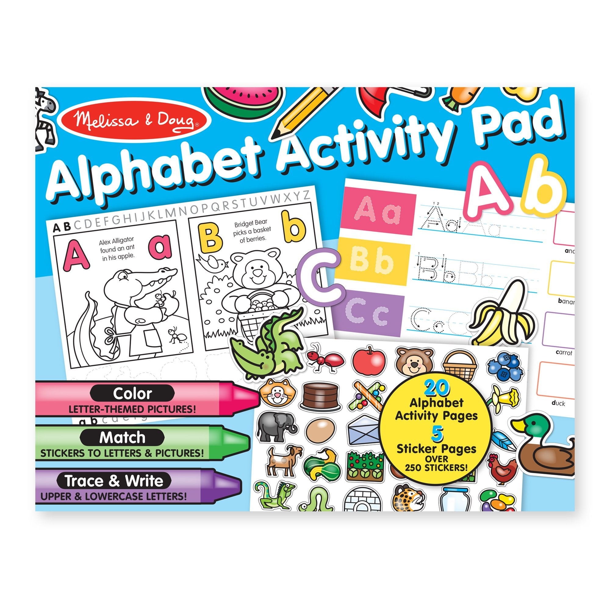 Melissa Doug Alphabet Activity Sticker Pad For Coloring Letters 250 Stickers