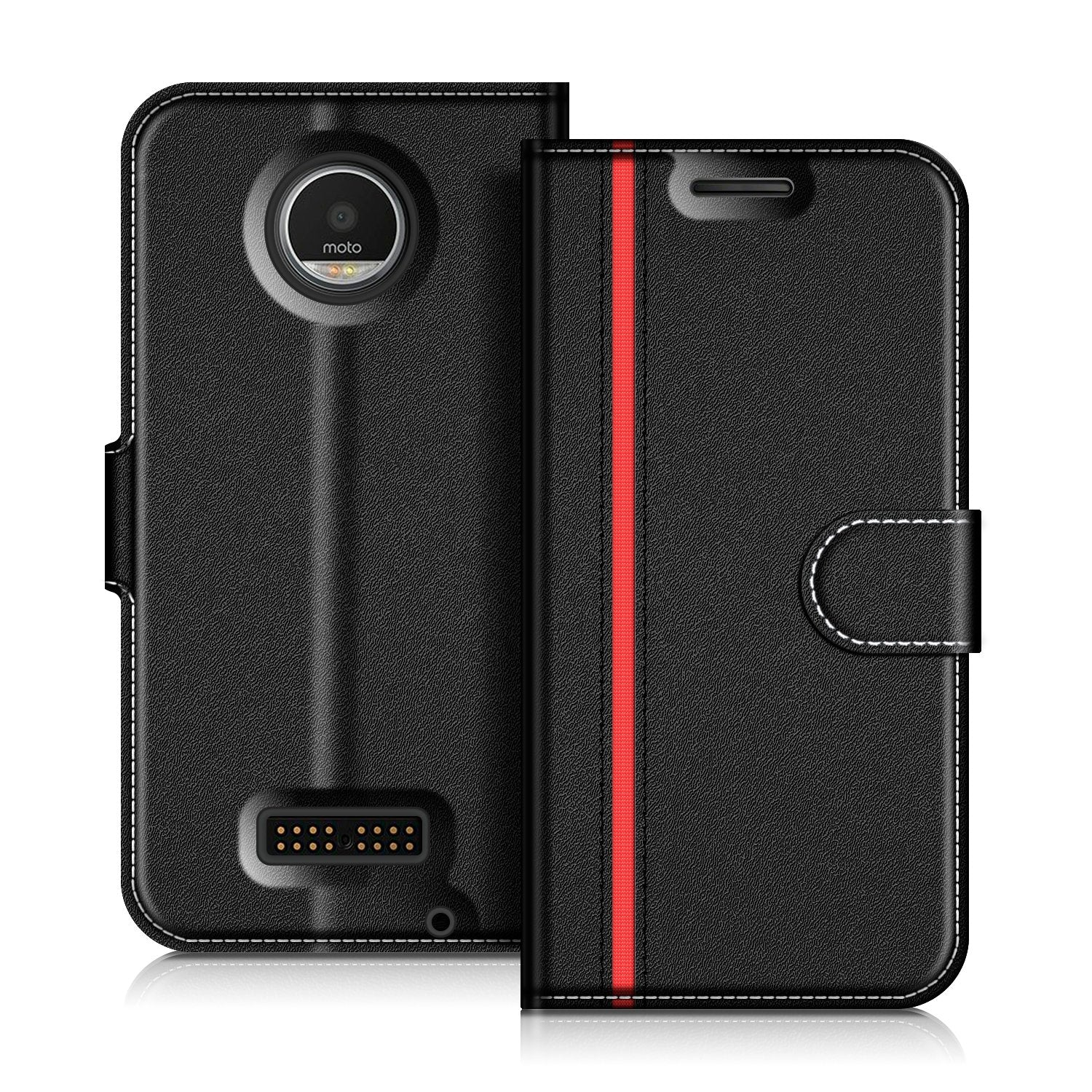 the latest 7a759 d65d8 COODIO Motorola Moto Z Play Case, Moto Z Play Leather Case, Motorola Moto Z  Play Wallet Case, Sty...