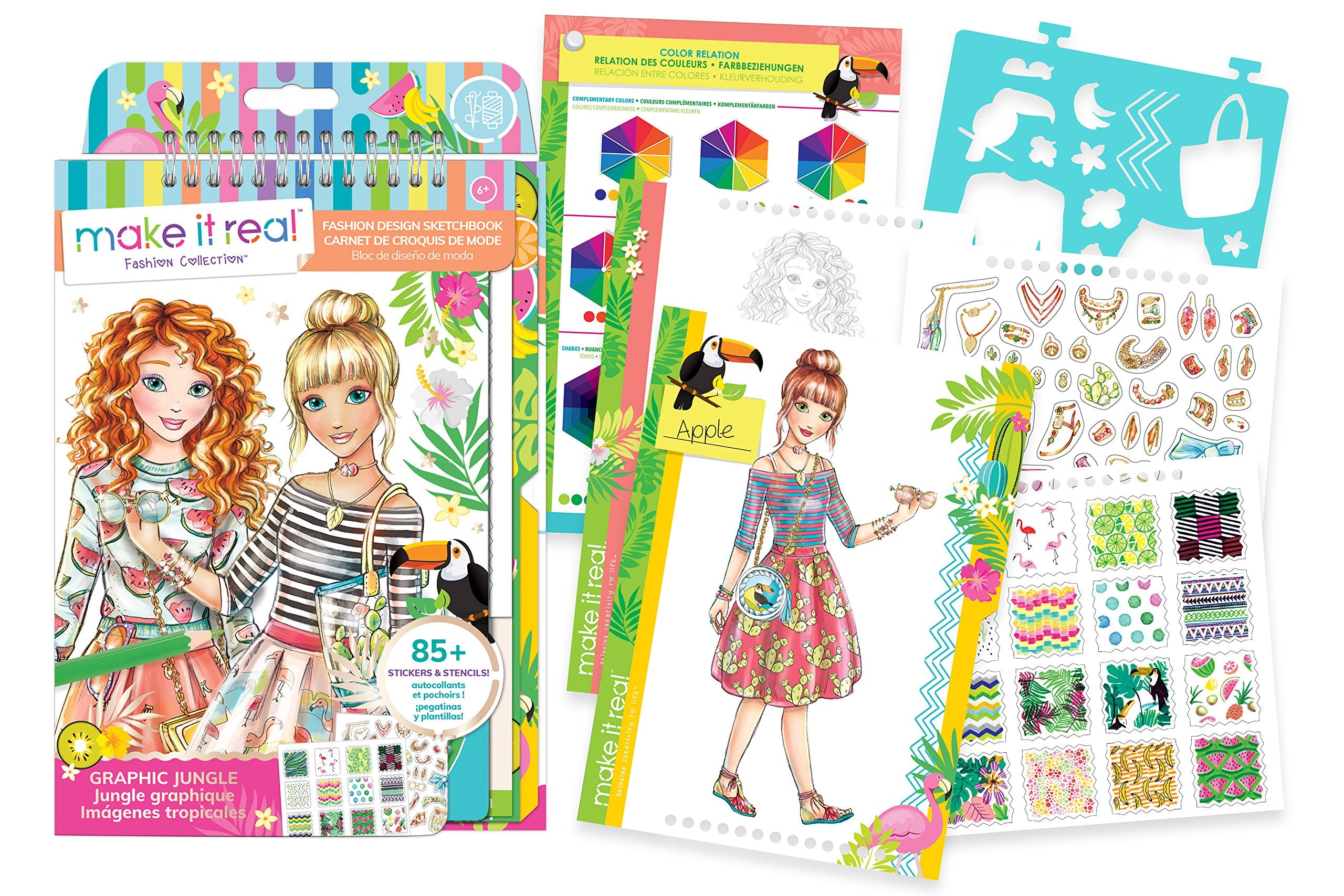 Make It Real 3201 Fashion Design Sketchbook - Graphic Jungle Coloring Book  for Girls
