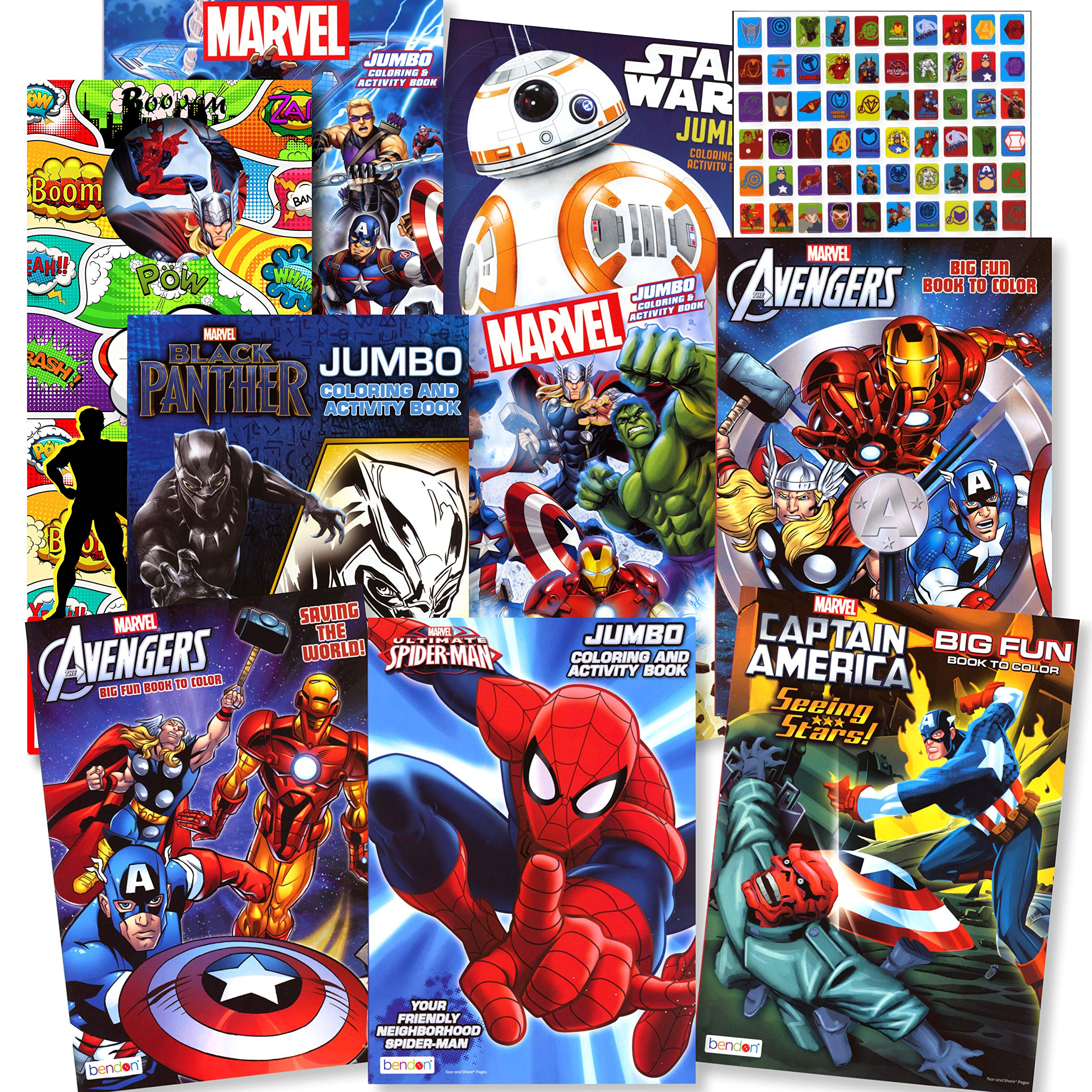 Disney Coloring Books For Kids Toddlers Bulk Set 8 Books And Sticker Pack Action Heroes