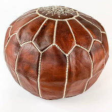 Round Moroccan Leather Pouf  | Chestnut