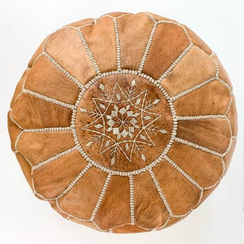 Round Moroccan Leather Pouf  | Tan
