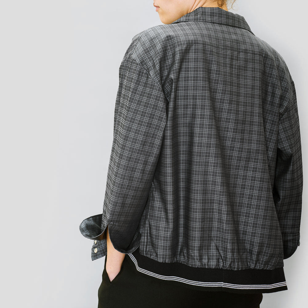 Black Check Bomber Shirt