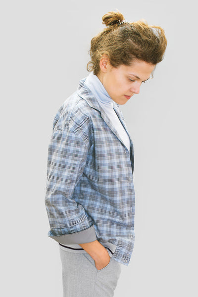 Grey Check Bomber Shirt