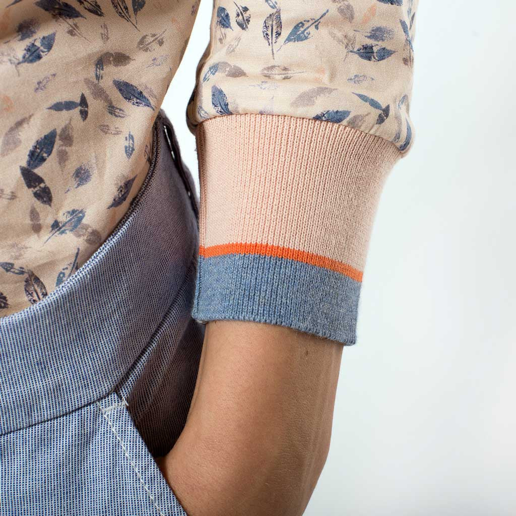 cuff orange stripe elastic pull up sleeve