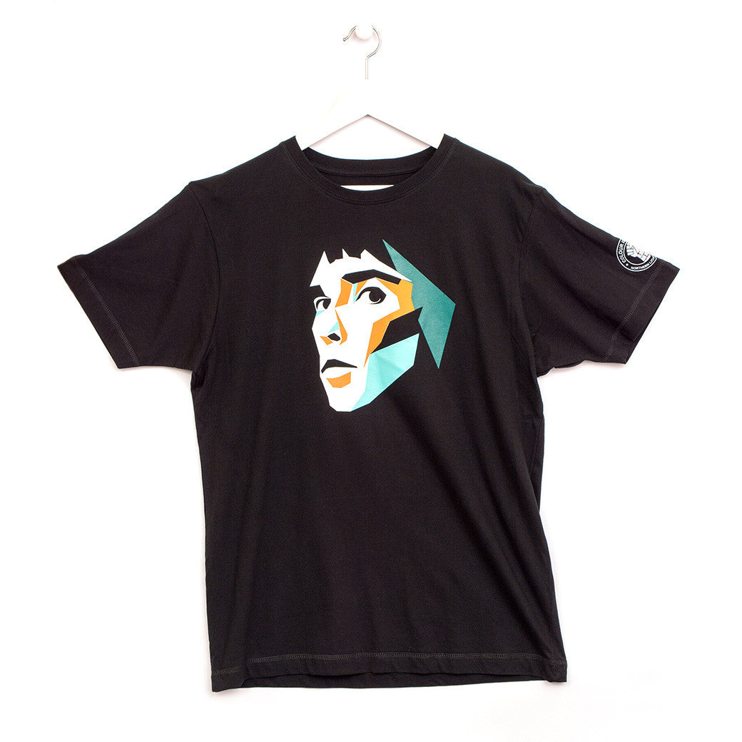 Ian Brown inspired music T-shirt silk-screen printed by hand onto 100% cotton black  top quality ethical t-shirt. Ian Brown T-shirt.
