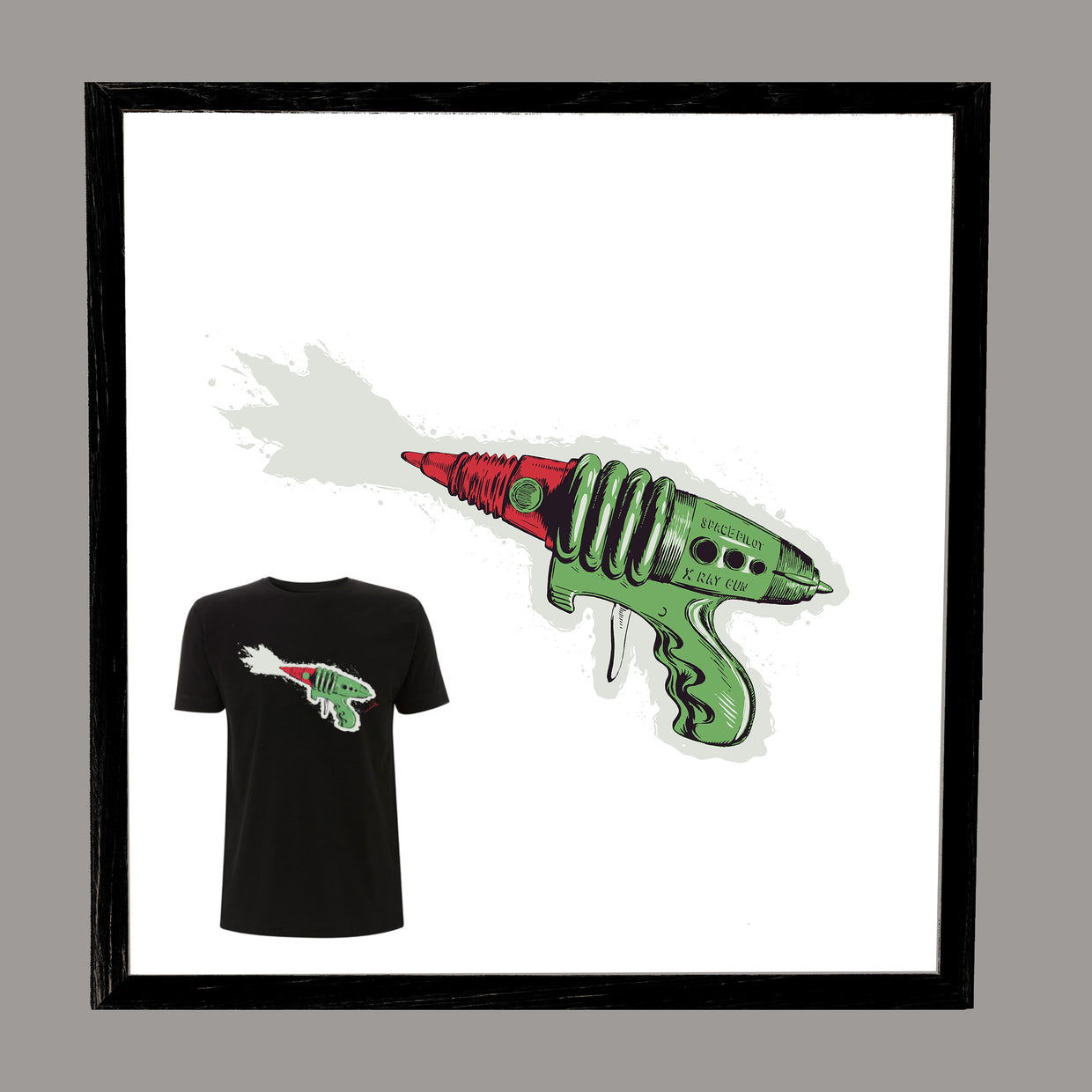 LITTLE BARRIE Collaboration: Ray Gun Wall Art and T-Shirt Set