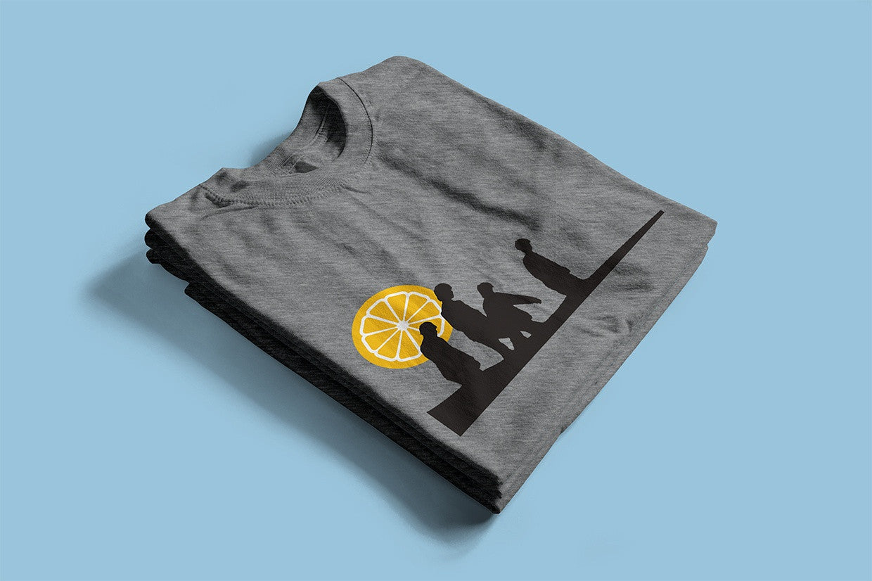 Stone Roses inspired music T-shirt silk-screen printed by hand onto 100% cotton melange grey top quality ethical T-shirts.