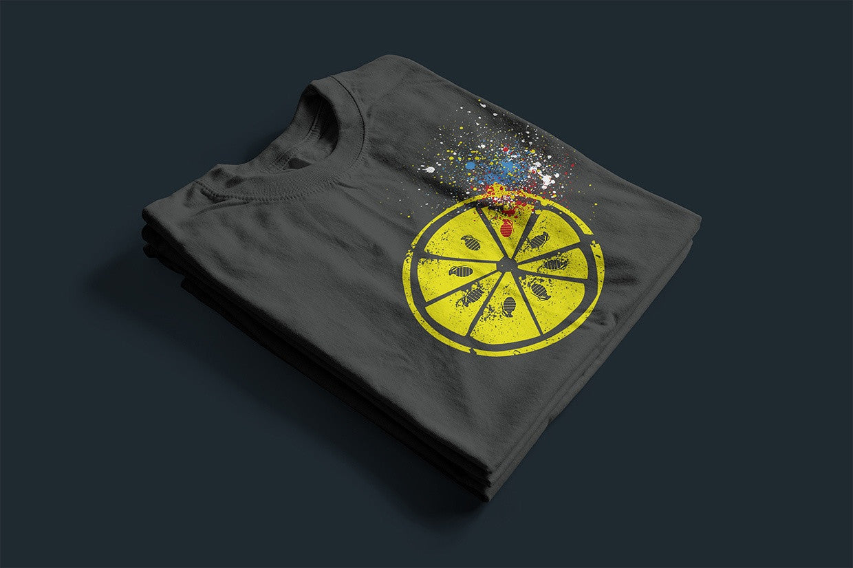 Stone Roses inspired charcoal grey music T-shirt silk-screen printed by hand oanto top quality ethical T-shirts.