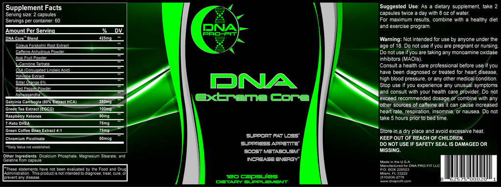 DNA Extreme Core label and supplement facts