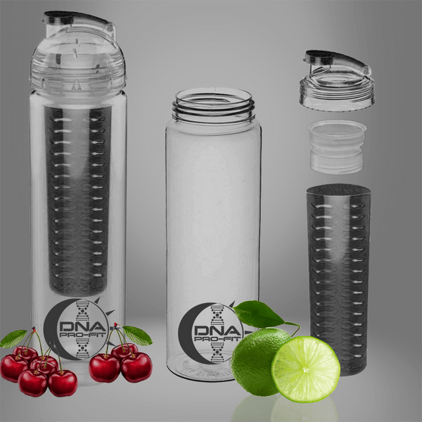 30oz. Fruit Infuser Water Bottle (Black) - by DNA PRO-FIT