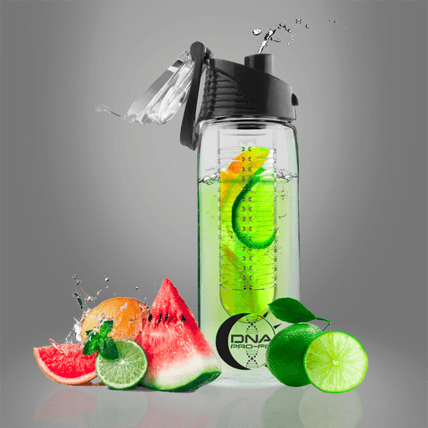 Fruit Infuser Water Bottle 24oz. (Black) - by DNA PRO-FIT
