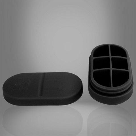 Portable Silicone Pill Box - 6 Compartment (Black) - by DNA PRO-FIT