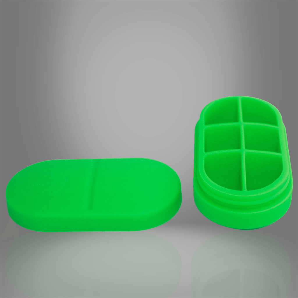 Portable Silicone Pill Box - 6 Compartment (Green) - by DNA PRO-FIT