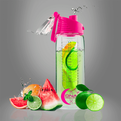 Fruit Infuser Water Bottle 24oz. (Pink) - by DNA PRO-FIT