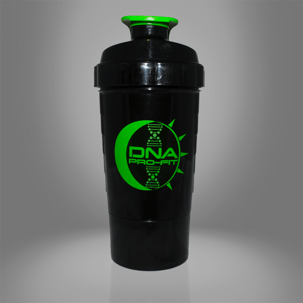 Three Compartment Shaker Bottle (Green Middle Compartment) - by DNA PRO-FIT