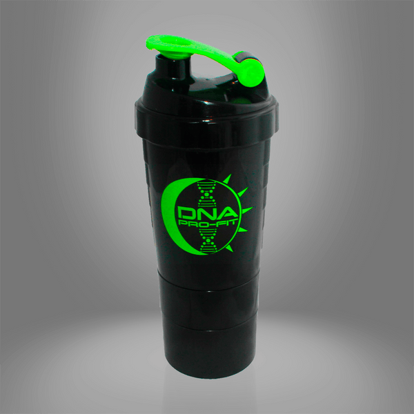Three Compartment Shaker Bottle (Black Middle Compartment) - by DNA PRO-FIT