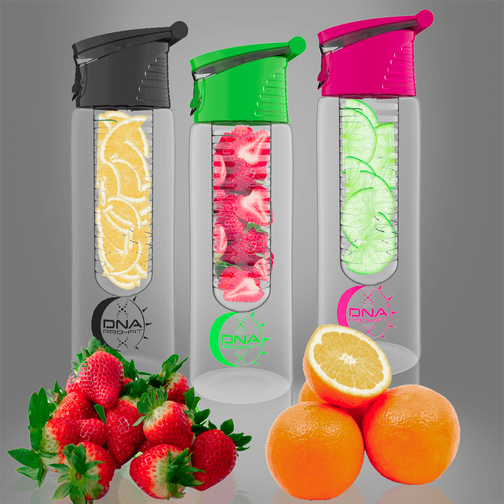 24oz. Fruit Infuser Water Bottle (Combo Pink, Green, and Black) - by DNA PRO-FIT