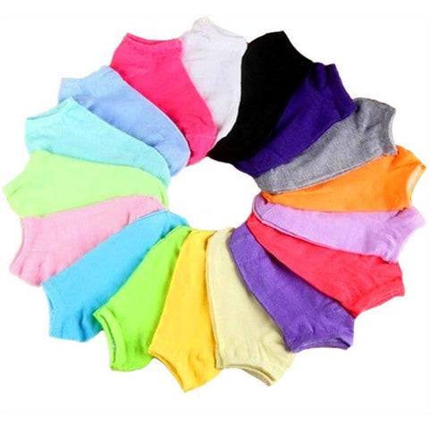 10 Pairs=20pcs/lot Women Socks Cotton Sock Candy Color Ankle Boat-Beautify Sweden