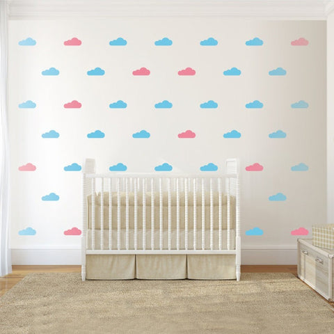 100pcs/set 2colors Clouds Pattern Wall Decal Nursery Wall Decals Girls Boys Wall Sticker-Beautify Sweden