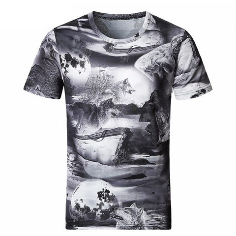 2017 3D T-Shirt Men Casual Undershirt Top Tees T Shirt Summer Wolf Fashion O-Neck Short-Sleeved-Beautify Sweden