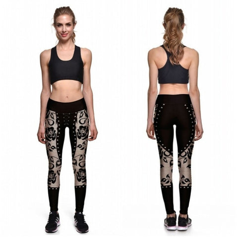 2017 Capri Pants Lace Printing Women Sportswear Running Yoga Leggings Jeggings Plus Size Gym-Beautify Sweden