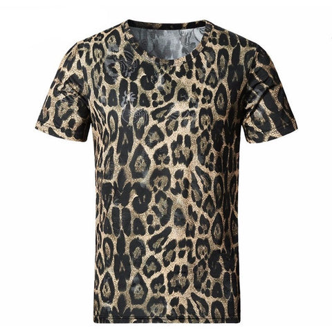 2017 New Men T Shirt Summer Fashion O-Neck Short-Sleeved Slim Fit Leopard 3D T-Shirt-Beautify Sweden